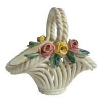 Charming Pottery Basket with Flowers