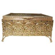 Vintage Gold-Tone Vanity Box