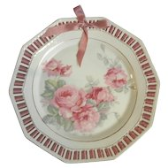 Vintage Pink Roses Reticulated Plate