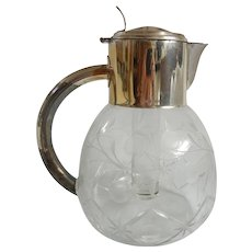 Antique Etched Crystal Pitcher