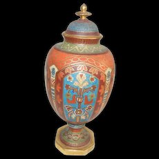 Very Unusual Early Royal Bonn Vase, Heavy Gold Gilt and Floral Urn with Lid - Red Tag Sale Item