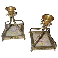 Antique Bronze Filigree Candle Holders with Petit Point Flowers