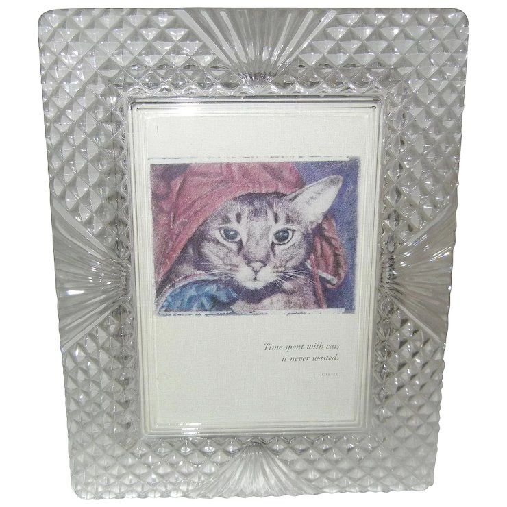 Gorgeous Heavy Cut Glass Picture Frame : Comfort & Joy | Ruby Lane