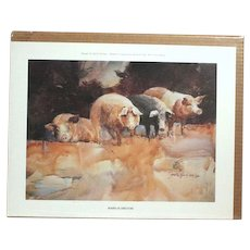"""""""Board of Directors"""" by Jack Clouse DeLoney numbered print (201 of 500) 1985 Amusing pig art! (ART10001A)"""
