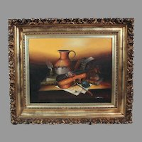 L. Habady Original Oil on Canvas Still Life with Violin 20th century  with Ornate Frame(ART10023)