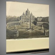Circa 1870 Photograph of an 1810 Colorized Magazine Etching of St. Peter's basilica (ART10099)