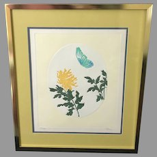 "Fernando Torm ""Blooming Chrysanthemum and Butterfly"" Etching (ART10111)"
