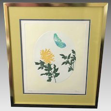 """Fernando Torm """"Blooming Chrysanthemum and Butterfly"""" Etching (ART10111)"""