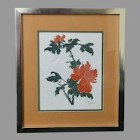 "Fernando Torm: ""Butterfly and Peony"" Framed Etching with COA (ART10112) on SALE Thru 12-17-2020"