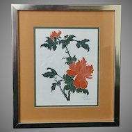"Fernando Torm: ""Butterfly and Peony"" Framed Etching with COA (ART10112)"