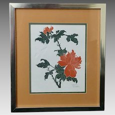 """Fernando Torm: """"Butterfly and Peony"""" Framed Etching with COA (ART10112)"""
