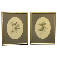"""Pair of 1978 Don Whitlatch numbered lithographs entitled: """"Golden-crowned kinglet"""" and """"Ruby-crowned kinglet"""" (ART10120)"""