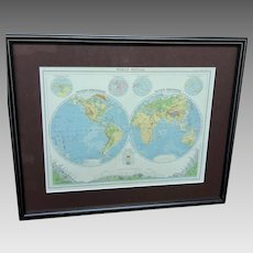 """30% Off Intro Special EXTENDED! Remember that PayPal offers 6 months same as cash!! The Citizen's Atlas """"World-Physical"""" Map (ART10127)"""