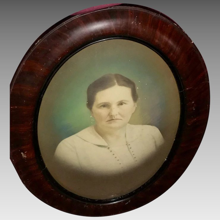 Vintage Oval Shaped Portrait In Wood Frame With Convex Glass Sharp
