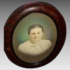 Vintage Oval-Shaped Portrait in Wood Frame with Convex Glass (ART10130)