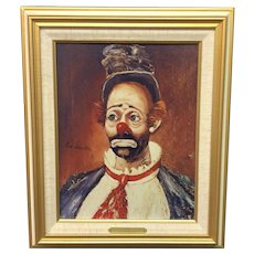 """Vintage Red Skelton """"Joey"""" Signed Framed Canvas Transfer Clown Lithograph with signed Certificate of Authenticity (ART10136)"""