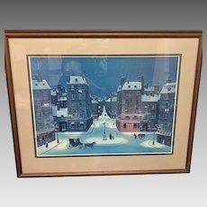 """Vintage Michel Delacroix """"Nuit De Décembre"""" Framed Lithograph, Plate Signed (ART10137)"""