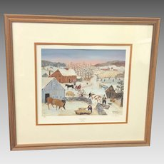 "Vintage Will Moses ""Visiting Neighbors"" Signed Lithograph (ART10139)"