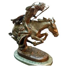 """Museum Licensed Bronze Casting of Frederick Remington """"The Cheyenne"""" Bronze Collectible Statue Circa 1962 (ART10143A)"""