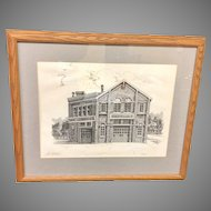 """Vintage Framed Clair McLain """"Hook and Ladder Co No. 2"""" Fire Station Lithograph (ART10145)"""
