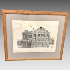 "Vintage Framed Clair McLain ""Hook and Ladder Co No. 2"" Fire Station Lithograph (ART10145)"