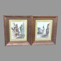 Vintage Pair of 1960's Framed Don Davey New Orleans Lithographs (ART10146) on SALE