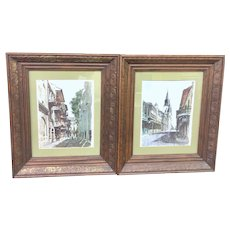 Vintage Pair of 1960's Framed Don Davey New Orleans Lithographs (ART10146)