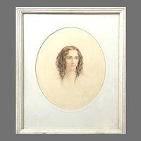 Rare! Elegant Portrait of A Lady Circa 1938 Regency Era Style (ART10147) Beautiful Watercolor Portrait in Great Vintage Condition! On SALE thru 2-17-2021