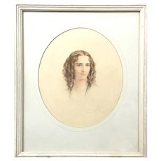 Rare! Elegant Portrait of A Lady Circa 1938 Regency Era Style (ART10147) Beautiful Watercolor Portrait in Great Vintage Condition!