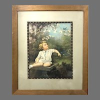 """Vintage framed print """"Bluebirds are Here Again"""" By Adelaide Hiebel Circa 1930 (ART10149) Framed Print In Great Condition"""