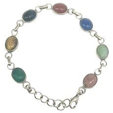 Beautiful Sterling Silver and Multi-Colored Stone Scarab Bracelet (BRA10028)