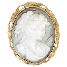 """JUST REDUCED RARE Mother of Pearl Cameo circa 1930s 18k yellow gold pendant / pin / brooch """"DIANE"""" (CAMPEN10009)"""