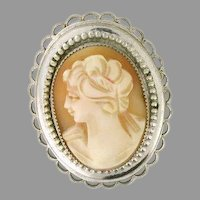 Natural Shell Cameo Pin / Brooch with Scalloped Edges 14k white gold signed - CAMPEN10019