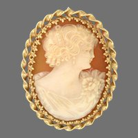Wedding Natural Shell Cameo circa 1928s with Custom Rope Frame, 18kt yellow gold