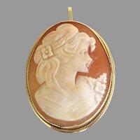 Signed Cameo Pin / Pendant 14k gold. Natural Shell Cameo circa 1998