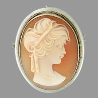 Extremely Finely Carved Natural Shell Cameo 800 Silver, Italian. Brought Home from WW2 (CAMPEN10035) on SALE NOW