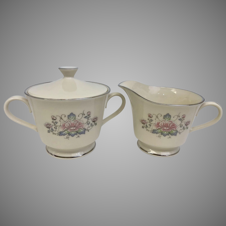 25d34a33e342 Vintage Lenox Charleston Covered Sugar Bowl and Creamer (CHIN10028c) :  Sharp Facets Gallery | Ruby Lane