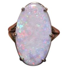 Natural Australian Opal 14kt white gold Ring 8.68ct Custom Designer One of a Kind Lots of Fire! - COLR10026A