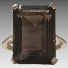 Faceted Smokey Quartz and 10KY Ring Circa 1971 (COLR10126)