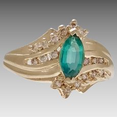 10KY Synthetic Emerald and Diamond Ring (COLR10128)