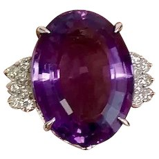 Bold Amethyst and Diamond 14 Karat White Gold Statement Ring Fine Art Deco Custom-Made (COLR10130)