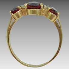 Flashy Estate 14 Karat Yellow Gold, Garnet, and Diamond Ring (COLR10142)