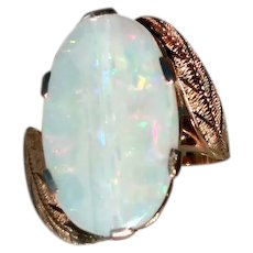Fiery Vintage 18 Karat Yellow Gold Australian Opal Cocktail Ring Circa 1959 Band with Leaf Design (COLR10143)