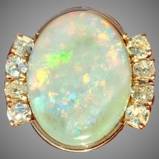 Renoir Like Painting in an Unbelievable Andamooka Opal and Diamond Ring in 14kt Rose Gold (COLR10144B)
