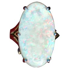 Natural Australian Andamooka Opal 14kt white gold Cocktail Ring 8.68ct Custom Designer One of a Kind Lots of Fire! (COLR10145)