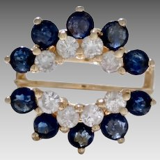 Vintage Estate 14 Karat Yellow Gold Ring Guard with Diamonds and Sapphires (COLR10146)