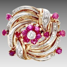 Vintage Estate 14 Karat Yellow Gold Dinner Ring of Rubies and Diamonds Circa 1949 (COLR10147)