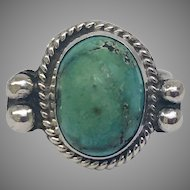 Vintage Native American Coin Silver and Turquoise Ring Circa 1944 (COLR10149)