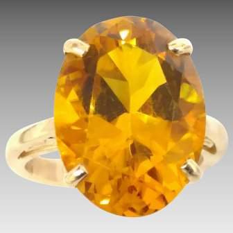 Vintage Large Oval Citrine in 14kt Yellow Gold Ring Dinner/Cocktail Style (COLR10150)