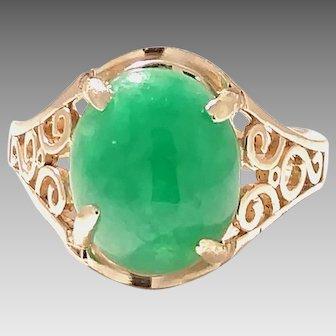 Estate Ring 14kt Yellow Gold w/Fine Jadeite stone Circa 1950 A Custom Ring Designed around a Fine Jadeite Stone. COLR10152
